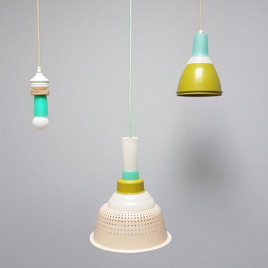 Tupperware Upcycle lampen mosgroen set